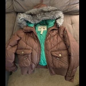 Abercrombie Bomber Puffer Hooded Faux Fur coat